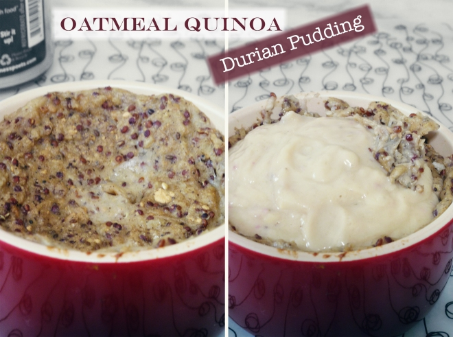 Oatmeal quinoa durian pudding
