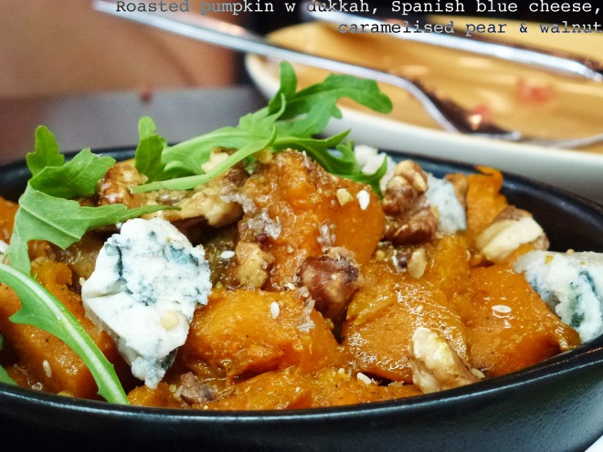 Dukkah pumpkin, cheese, pear & walnut salad